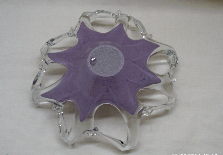Beautiful Purple Murano Glass Free Form Center Piece/Candy Dish