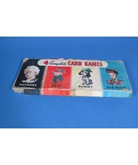Vintage Whitman 4 Card Games Snap, Rummy, Old Maid, Authors, 1960's in Box - $13.99