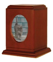 Small/Keepsake Brown Wood 60 Cubic Inches Cremation Urn with Photo Frame - $149.99