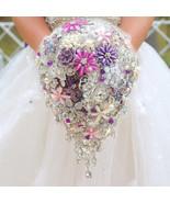 purple bridal brooch bouquet, wedding bouquet crystal droplets teardrop ... - $297.00