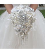Hydrangea bridal brooch bouquet wedding Tassel chain droplets, teardrop ... - $285.00