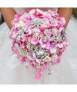 luxury bridal brooch bouquet, wedding bouquet crystal droplets, teardrop... - $116.00