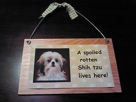 5x8 A Spoiled Rotten Shih Tzu Lives Here Wooden Plaque or Magnet of Your... - $6.88+