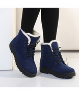Women Winter Keep Warm Flat Lace Up Plush Martin Boots Snow Ankle Short ... - $42.99