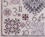 One Dozen Quakers motif sampler cross stitch chart Rosewood Manor