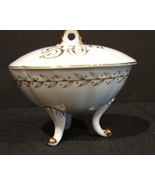 Lefton China 50th Anniversary White-Gold Footed Candy Bowl - $4.99