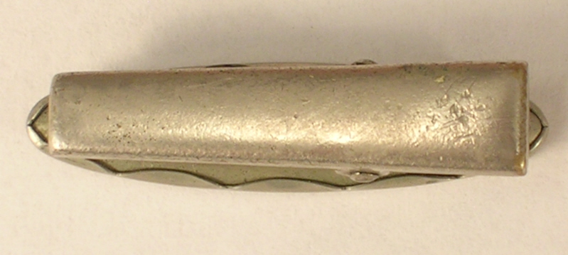 Vintage Tie Clip of Silver Colored Metal and Rhinestone with Mother of Pearl