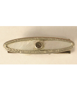 Vintage Tie Clip of Silver Colored Metal and Rhinestone with Mother of P... - $12.00