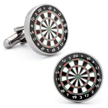 Mens Plated Dart Board Cufflinks Black - $49.00