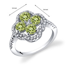 Women's Sterling Silver Genuine Peridot Clover Halo Ring - $124.92 CAD