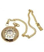Gold coloured half hunter quartz pocket watch and chain - $68.59