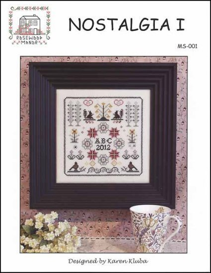 Nostalgia I antique motif sampler cross stitch chart Rosewood Manor