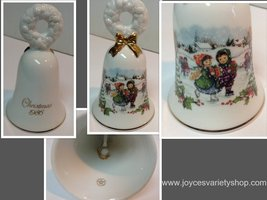 Avon Christmas Bell 1986 Porcelain Children Ice Skating  - $15.99