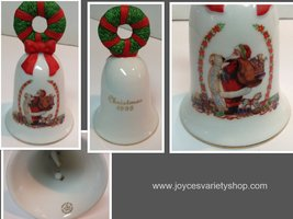 Avon Christmas Bell 1995 Porcelain Santa and Christmas List - $15.99