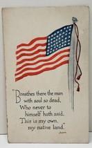 Patriotic 48 Star Flag, Breathes There The Man, Sir Walter Scott Postcar... - $7.45