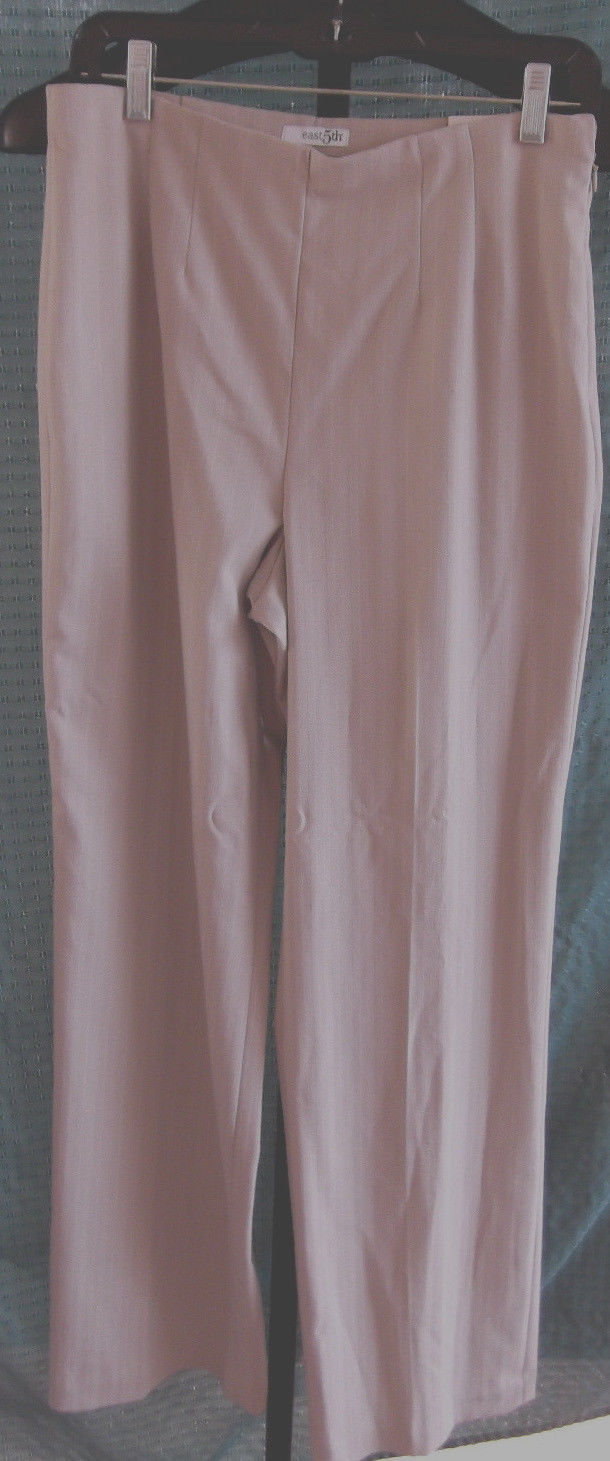 Primary image for NWT East 5th Classic Fit Beige Dress Polyester Flat Front pants Misses Size 10 T