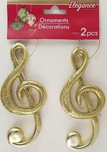 Christmas Ornaments Gold Glitter Musical Symbols Instruments w Loops 2 C... - $2.99