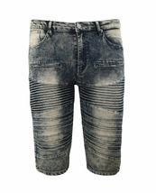 Men's Distressed Denim Faded Wash Slim Fit Moto Quilt Skinny Jean Shorts image 11