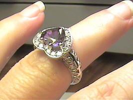 Solid sterling silver 925 Ring 7 mystic topaz heart elegant estate delicate - £55.16 GBP
