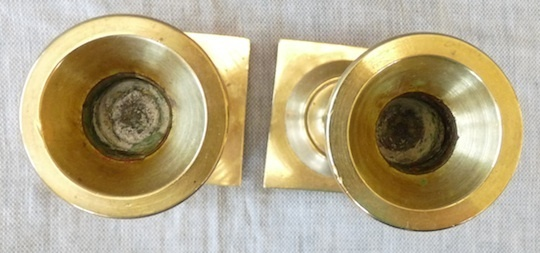 Antique pair of brass candlesticks 1900 Colonial style heavy