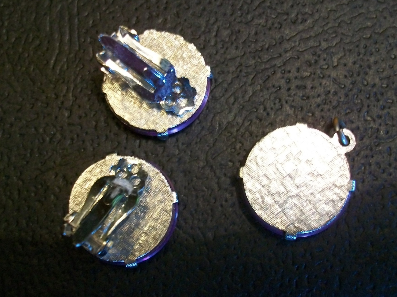 Vintage 3 piece Clip-on Earring and Pendant Set - Holographic Discs