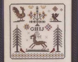 Nostalgia III antique motif sampler cross stitch chart Rosewood Manor