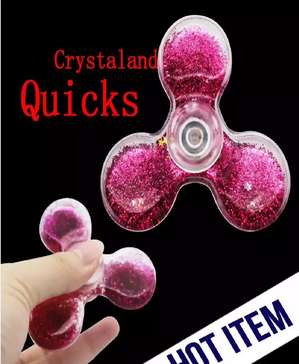 Plastic Hand Spinner Glitter Quicksand Liquid - 1x with Random Color and Design