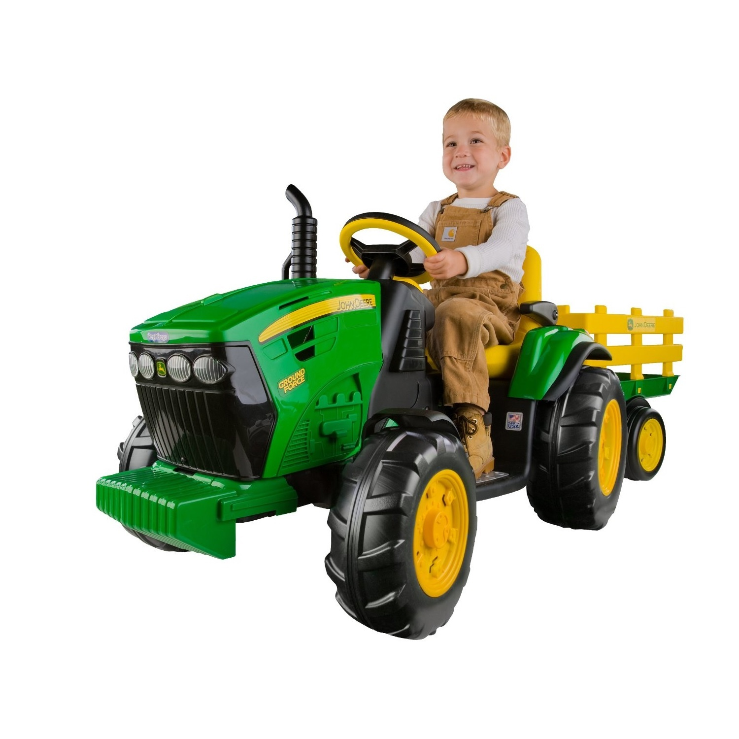 Motorized Toys For Boys : Battery powered tractor kids ride on trailer farm wheels