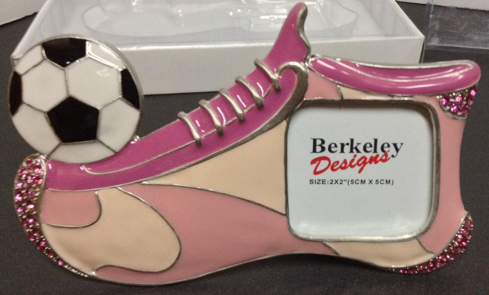 Girl's Pink Soccer Shoe Photo Frame NWT Berkeley Designs