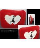 "Glossy Red Double Hearts Photo Frame NWT 7.5"" x 6"" Future Sleek - $11.99"