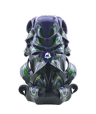 Hand Carved Candle Lime Purple Black Molded & Sculpted Paraffin Wax Unscented