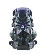 Hand Carved Candle Lime Purple Black Molded & Sculpted Paraffin Wax Unscented - $28.99