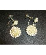 Amazing Vintage Pearl and Rhinestone Dangle Screw-back Earrings - $14.00