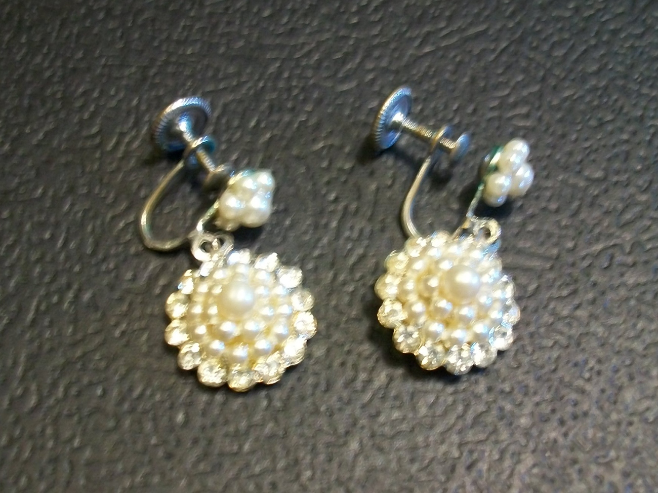 Amazing Vintage Pearl and Rhinestone Dangle Screw-back Earrings