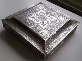 PERSIAN ART EXHIBITION EXCEPTIONAL EX LARGE PERSIAN SOLID SILVER BOX 21 ... - $1,915.14