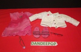 American Girl Doll  Pink Dress With White Denim Jacket Shoes Necklace Su... - $31.67