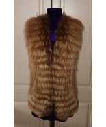 New brown leather and fox fur vest - $120.00