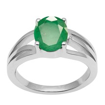 Natural Emerald Gemstone 925 Sterling Silver Split Shank Engagement Ring - $121.08