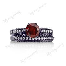 14K White Gold Fn Bridal Engagement Ring Garnet Gemstone Round Cut Soli... - $79.99