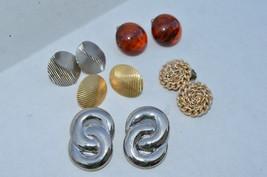 Lot of 5 Vtg earrings**Art Deco Chrome**Amber Buttons**Mid Century**Clip on&post - $9.46