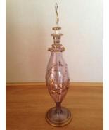 """VINTAGE  ART GLASS Gold ON Rose Pink PERFUME BOTTLE 9.5"""" Feather Leaf De... - $49.99"""