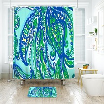 Flower Lilly Keep it Current Shower Curtain Waterproof & Bath Mat For Bathroom - $15.30+