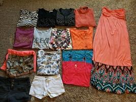 Teen Size Large Lot Of 15 Summer Clothing Shorts Shirts Dress - $29.03