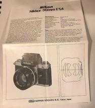 Nikon Nikkor 50mm f2 lens Instruction Manual Nikon genuine - $11.88