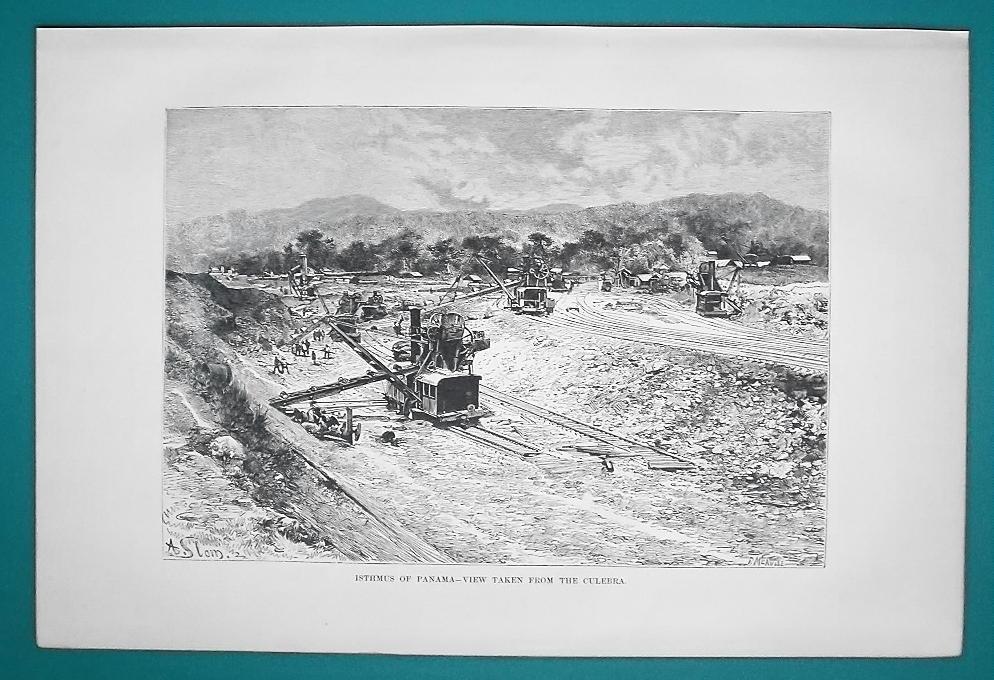 PANAMA Canal Construction - 1891 Antique Print Engraving