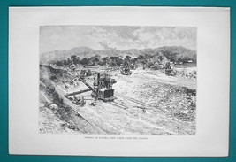 PANAMA Canal Construction - 1891 Antique Print Engraving - $20.25