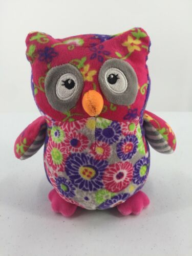 """Mary Meyer Plush Owl Purple Pink Floral Flowers Stuffed Toy 7"""" Tall"""