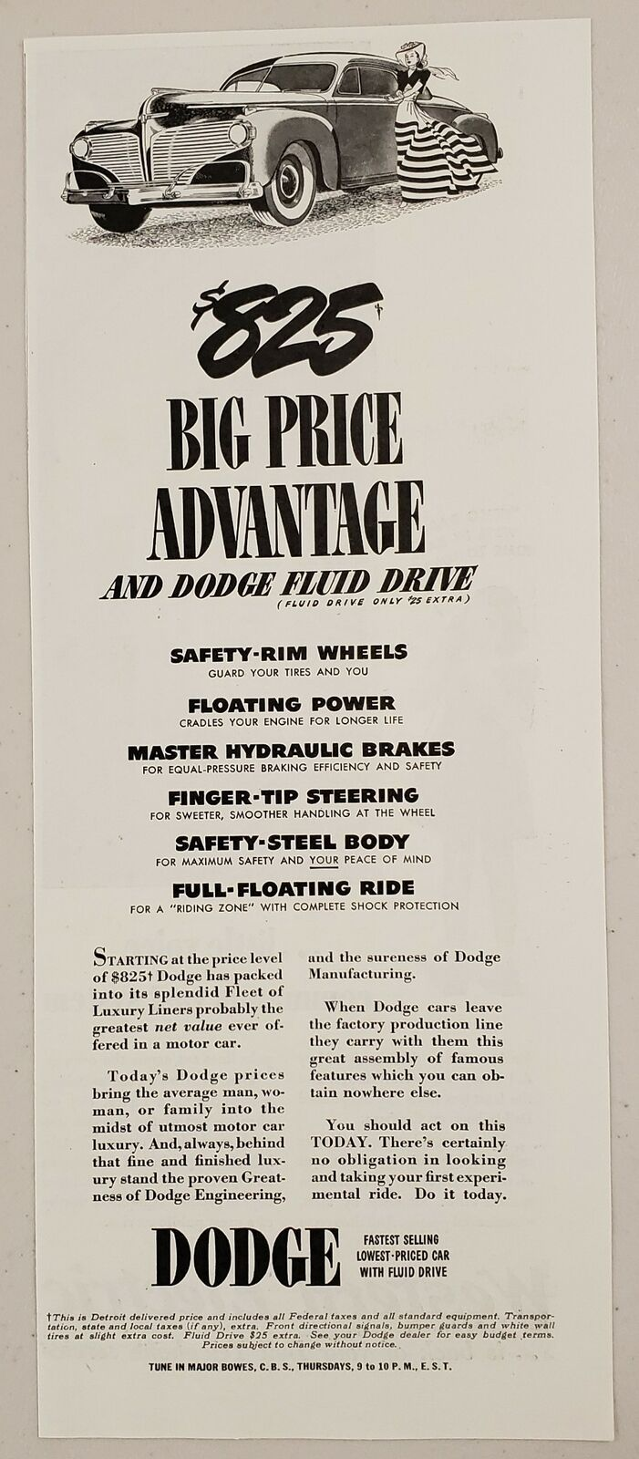 1941 Print Ad Dodge Cars with Fluid Drive Lowest Priced $825 Price Advantage - $11.56