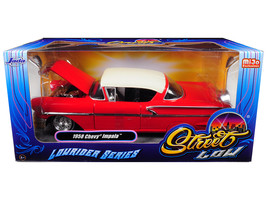 "1958 Chevrolet Impala Red ""Lowrider Series\"" Street Low 1/24 Diecast Model Car  - $36.94"