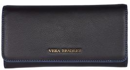 NEW Vera Bradley Women's $138 Black Leather Audrey Continental Wallet - $73.00